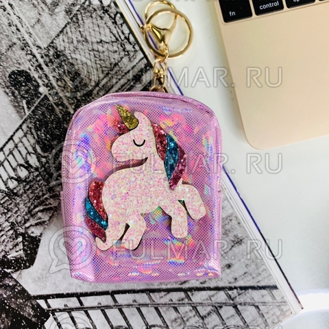 Брелок-кошелек голографический Воображуля Единорог Розовый