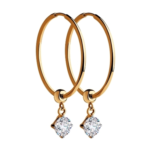 028420 Серьги-конго из золота с подвесками