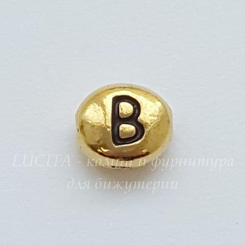 "Бусина овальная TierraCast ""Буква B"" 7х6х3 мм (цвет-античное золото) (20170913_120555)"