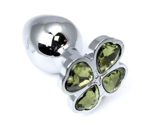 Серебристая анальная втулка с клевером из лаймовых кристаллов - 9 см.