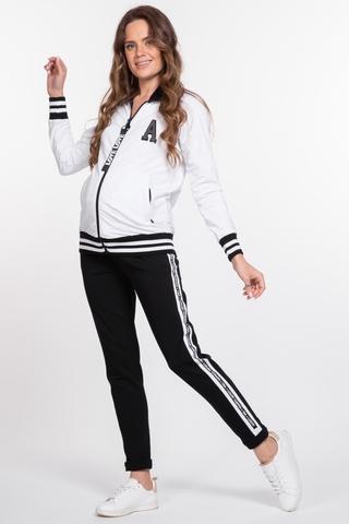Спортивный костюм для беременных и кормящих 10028 черно-белый