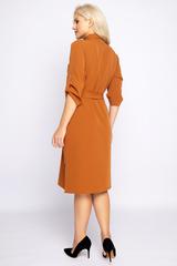 <p>Хит сезона! Платье - рубашка создаст неповторимый образ для Вашего осеннего гардероба. По переду планка на пуговицах, рукав 3/4 с патой.&nbsp;</p>