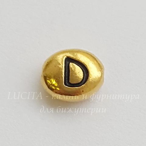 """Бусина овальная TierraCast """"Буква D"""" 7х6х3 мм (цвет-античное золото) (20170913_120701)"""