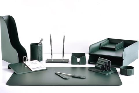 Настольный набор для руководителя 12 предметов из кожи цвет зеленый