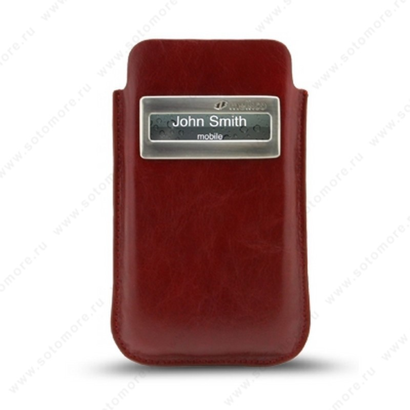Чехол-пенал кармашек Melkco для iPhone 4s/ 4 Leather Case iCaller Type (Vintage Red) with Melkco Cover