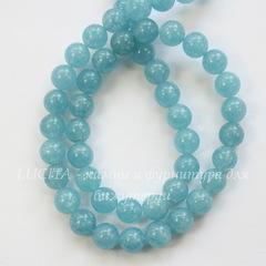 Бусина Кварц (тониров), шарик, цвет - голубой , 8 мм, нить