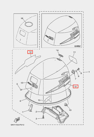 Наклейка для лодочного мотора F20 Sea-PRO (1-12)