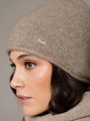 Женская шапка песочного цвета из 100% кашемира - фото 2