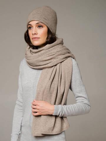 Женская шапка песочного цвета из 100% кашемира - фото 4