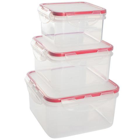 Набор контейнеров для прод. Clipso/Amore квадрат 0,4л+0,7л+1,2л GR1848