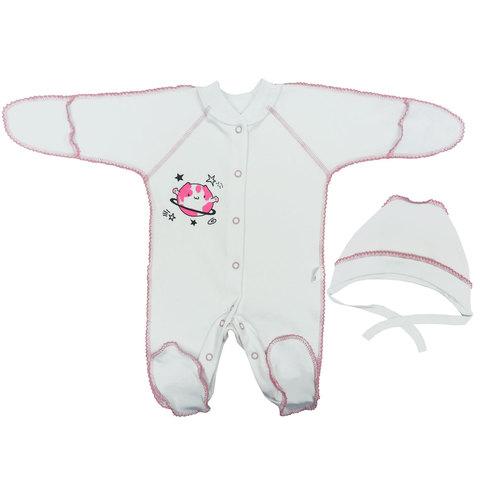 Папитто. Комплект для новорожденных комбинезон и чепчик Планетки, розовый