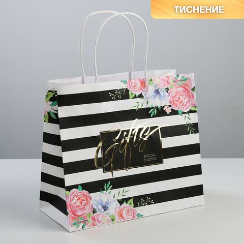 Пакет подарочный крафтовый Gifts, 25 × 22 × 12 см