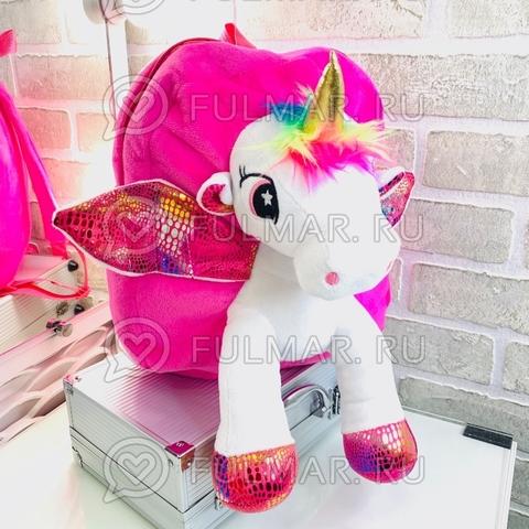 Рюкзак детский для девочки Единорог плюшевый (цвет: малиновый)