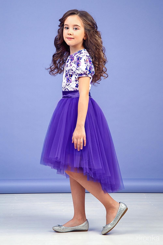 Комплект (блузка, юбка) фиолетовый для девочки 64-9004-4