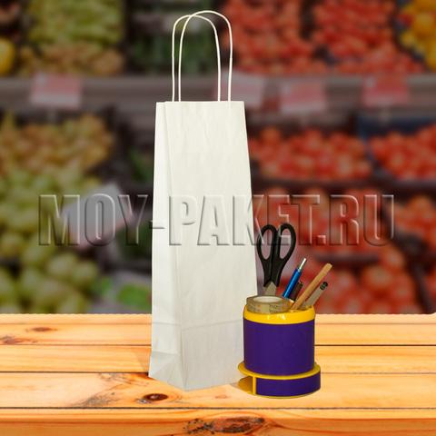 Крафт пакет белый с крученой ручкой 12x35x8 см