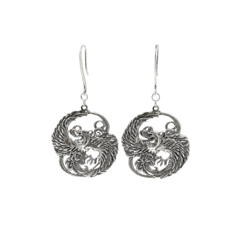 Phoenix earrings, sterling silver