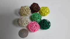 Шар плетеный ротанговый, 1 шт, 3 см.