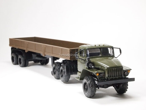 Ural-44202 with semitrailer khaki-brown Elecon 1:43