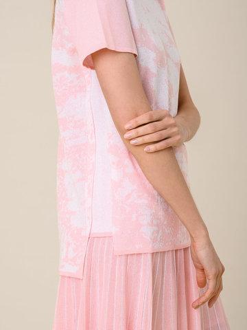Женская футболка розового цвета из вискозы - фото 4