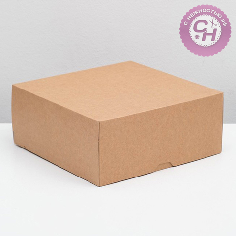 Коробка квадратная самосборная, 25,5 x 25,5 x 10,5 см, крафт картон, 1 шт.