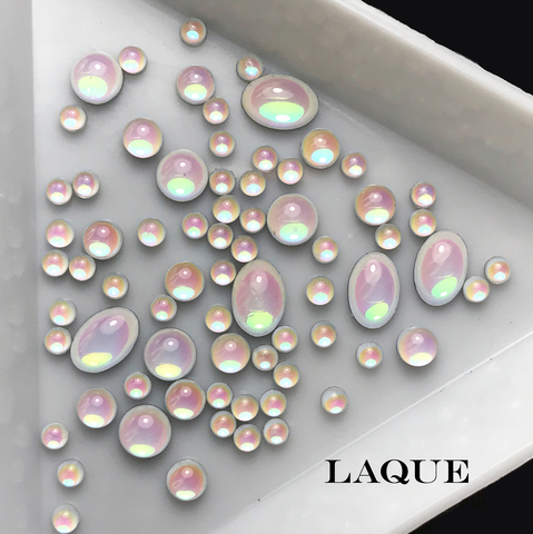 MIX камней ОВАЛ - WHITE OPAL (не теряют цвет)