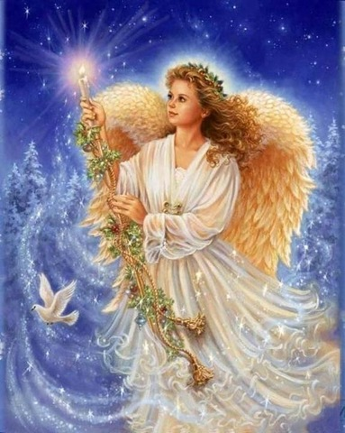 Алмазная Мозаика 30x40 Ангел со свечой (арт. TC74173)