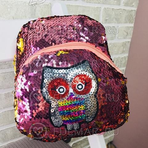 Маленький рюкзак с пайетками меняет цвет Розовый-Золотистый нашивка Сова