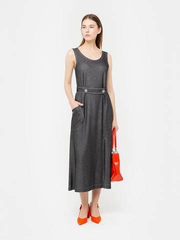 Фото серое приталенное платье-майка без рукавов с круглой горловиной - Платье З294-646 (1)