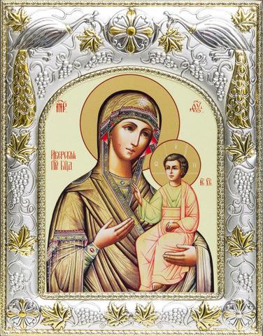 Серебряная икона Божья Матерь Иверская 18x14см