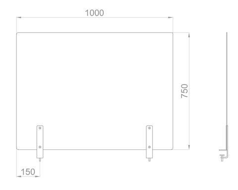 Настольный экран на струбц. Ш.1000мм В.600/750мм