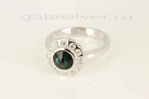 Кольцо с кристаллом Сваровски и цирконом из серебра 925