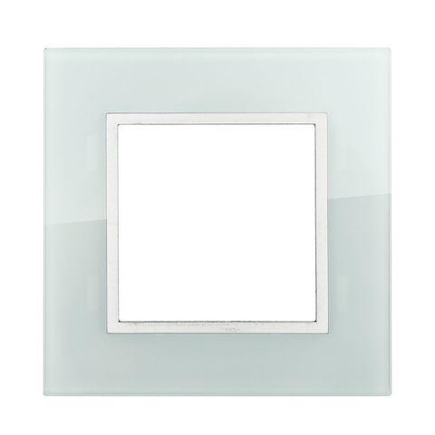 Рамка на 1 пост из натурального светлого стекла. Цвет Белый. LK Studio LK45 (ЛК Студио ЛК45). 854111