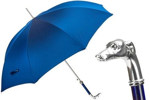 Зонт-трость Pasotti Blue Umbrella, Silver Greyhound, Италия (арт.478 Oxf-8 W39PB).
