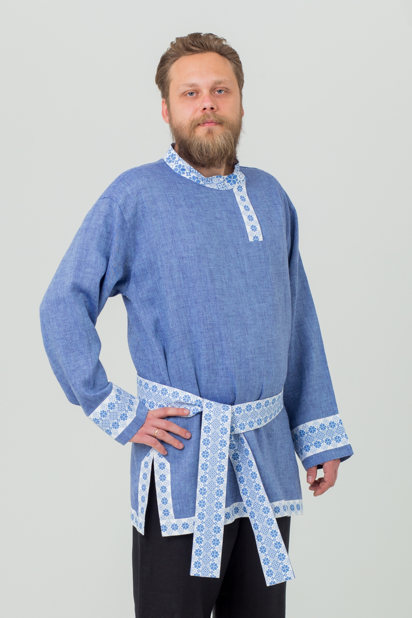 Косоворотка льняная мужская Дары солнца в русском стиле