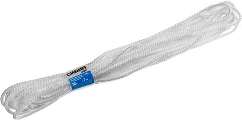 Шнур вязаный полипропиленовый СИБИН с сердечником, белый, длина 20 метров, диаметр 7 мм
