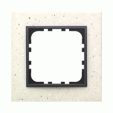 Рамка на 1 пост из декоративного камня. Цвет Белый мрамор. LK Studio LK60 / LK80 (ЛК Студио ЛК60 / ЛК80). 864189