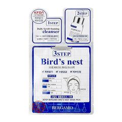 Bergamo 3 Step Mask Pack Bird's Nest - Трехэтапная маска для лица с ласточкиным гнездом