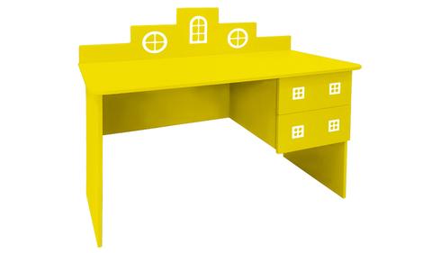 детский письменный стол в виде домика желтый