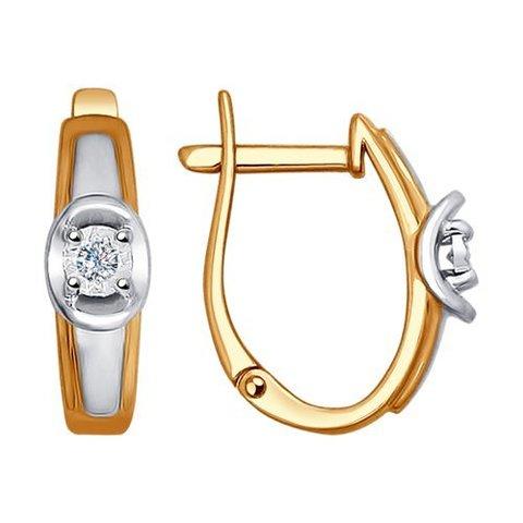 1021137 - Серьги из комбинированного золота с бриллиантами