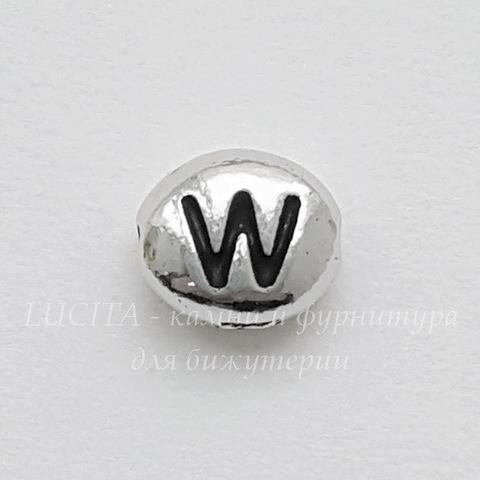 """Бусина овальная TierraCast """"Буква W"""" 7х6х3 мм (цвет-античное серебро) (20170913_120228)"""