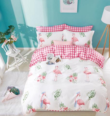 Евро постельное белье с фламинго сатин-твил Арада