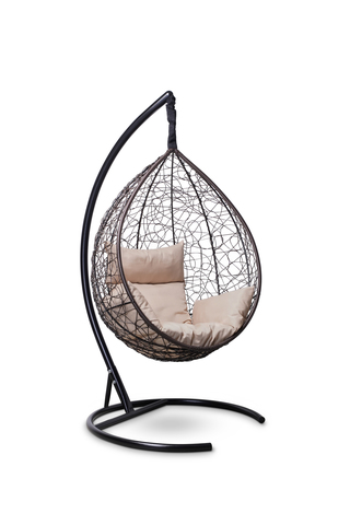 Подвесное кресло-кокон SEVILLA коричневое + каркас + бежевая подушка