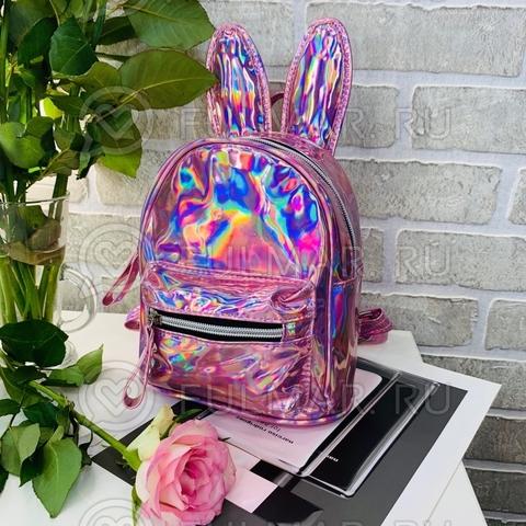 Детский голографический рюкзак с ушами зайца Розовый