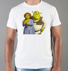 Футболка с принтом мультфильма Шрек (Shrek)  белая 008
