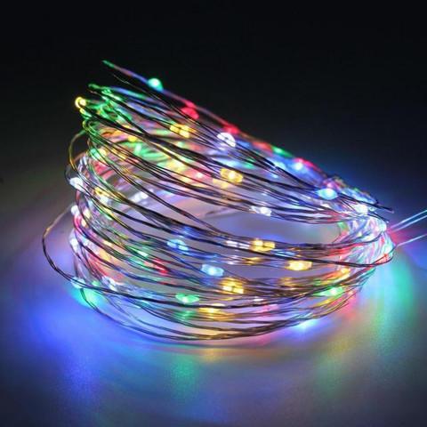 Штора-гірлянда на Мідному дроті Роса 120 LED 3 на 0.6 м. кольорова