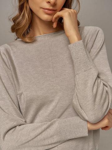 Женский джемпер цвета серый меланж из шелка и кашемира - фото 3