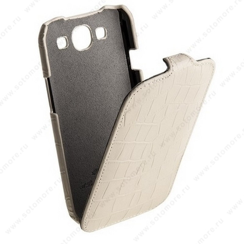 Чехол-флип Melkco для Samsung Galaxy S3 i9300 Leather Case Jacka Type (Crocodile Print Pattern - White)