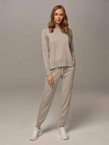 Женский джемпер цвета серый меланж из шелка и кашемира - фото 5