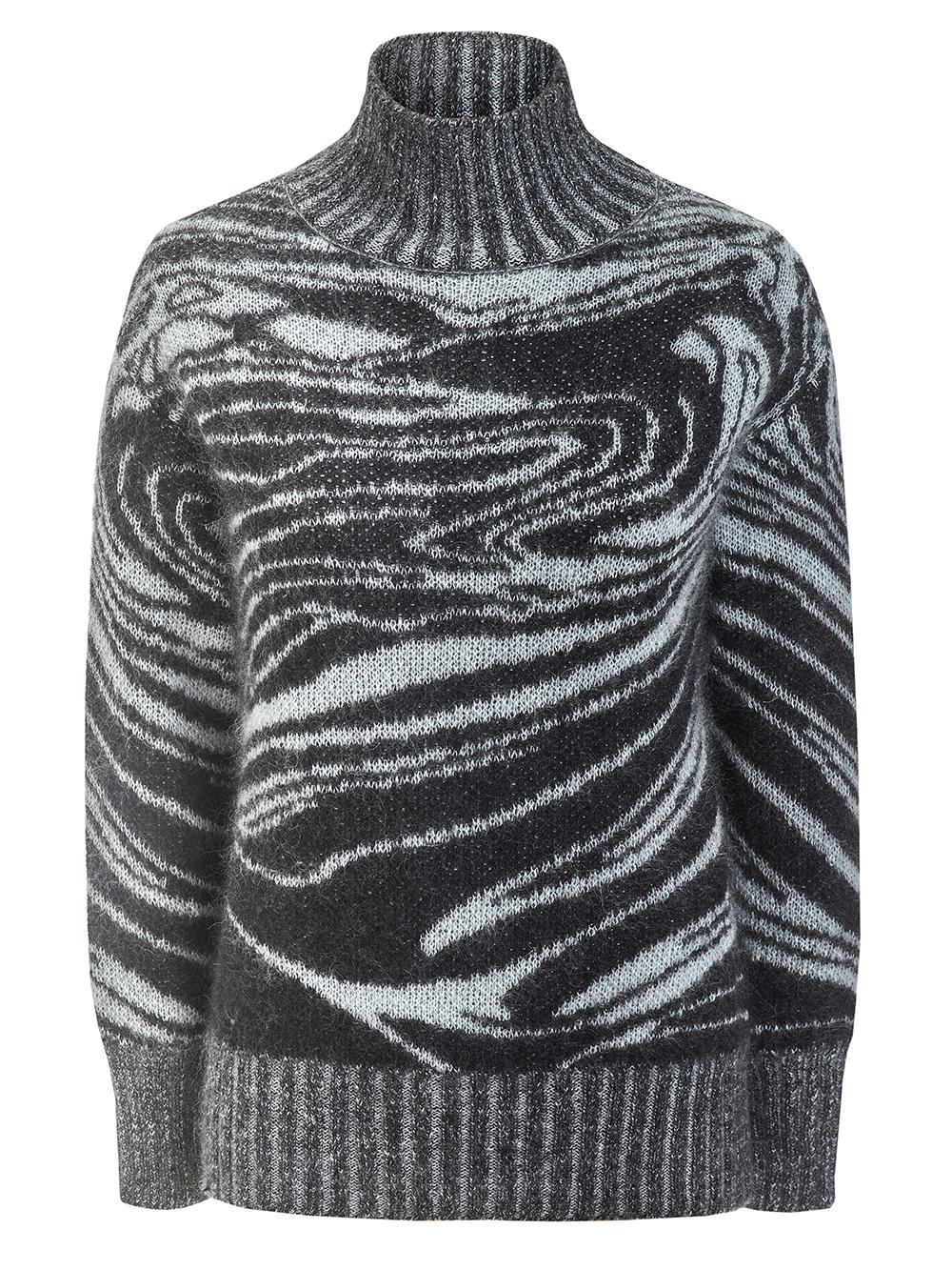 Женский свитер черного цвета из мохера - фото 1