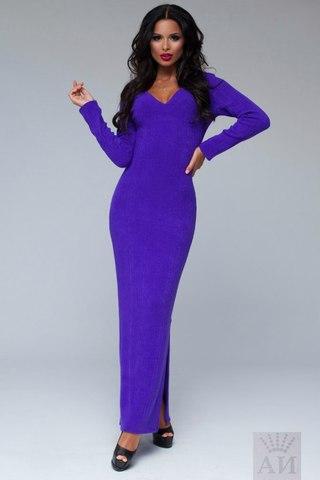 Платье ангоровое в пол с вырезом на груди, фиолетовое 1